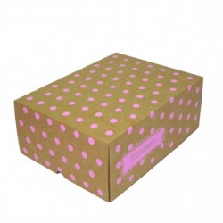 Cajas Cartón 30x22x12 Lunares Rosa